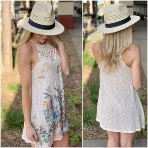Infinity Raine Dresses - Floral Print Knit Crochet Tunic Dress